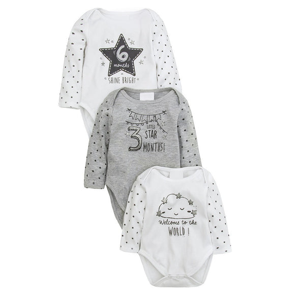 Monochrome milestone long sleeve bodysuits. Three piece set.