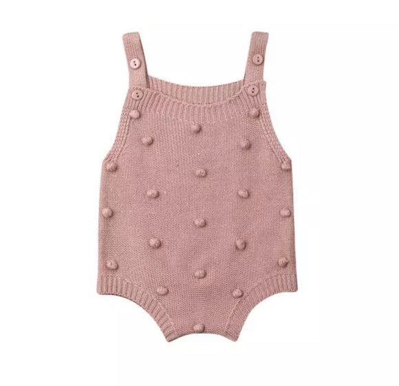 Knitted dusky pink pom pom romper - 0-2 years