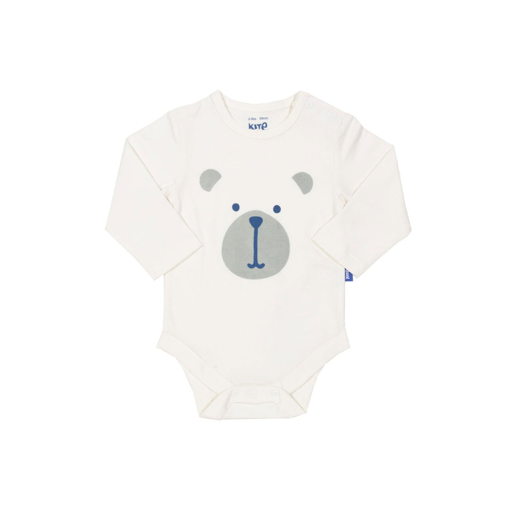 9-12 months - KITE organic GOTS certified cotton bear long sleeved bodysuit - BF01