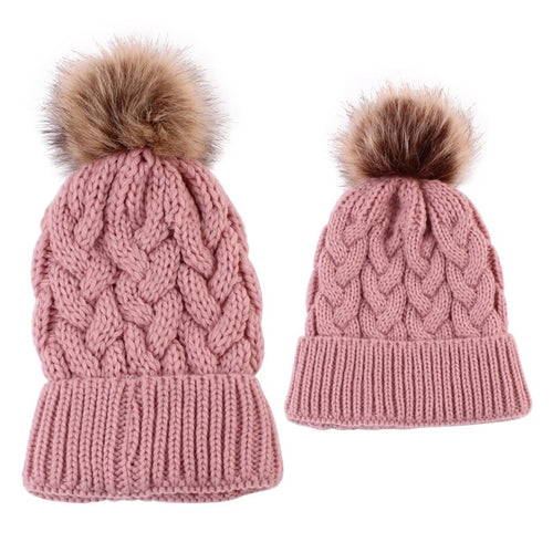 Mama and Me dusky pink matching single Pom Pom cable knitted hats - Adult and Baby sizes available - sold separately