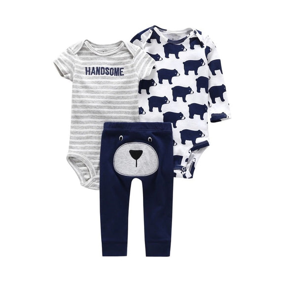 "Navy ""Handsome"" bear appliqué three piece comfort lounge set (up to 18 months)"