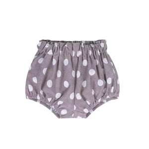 Corduroy polka dot taupe bloomers shorts (3 months-3 years)