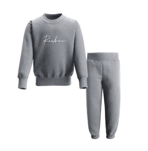 Personalised grey personalised jersey cotton tracksuit