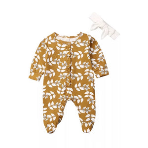 Mustard fern frill footed romper with headband (0-6 months)