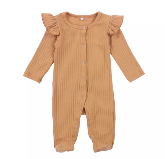 Light rust vintage ribbed footed romper (0-6 months)