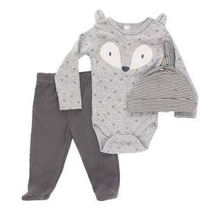 Fox appliqué triangle print 3 piece set. Long sleeve bodysuit, hat and footed leggings (0 to 9 months)