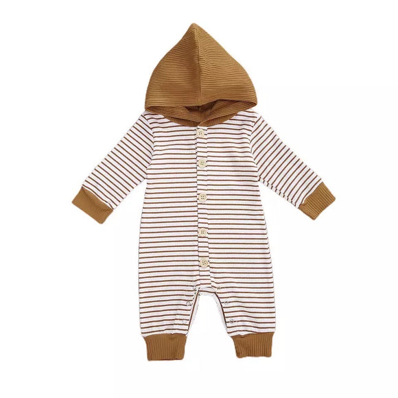 Rust breton stripe all in one with hood - 0-2 years