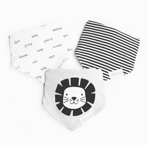 Monochrome LION terry bib set - pack of 3