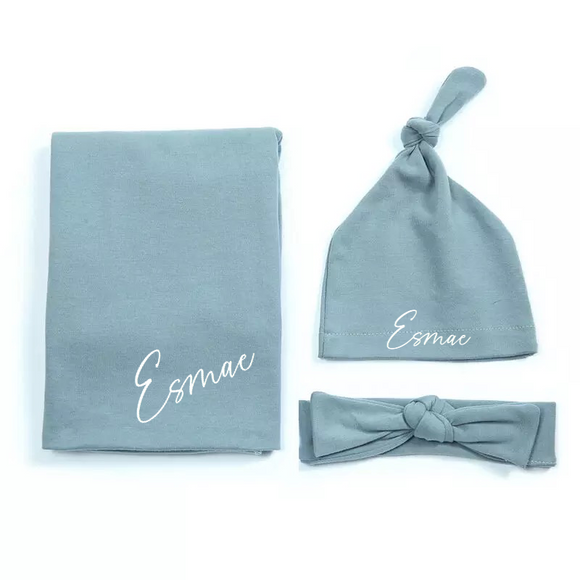 Dusky blue personalised newborn gift hat and shawl set - 0-6 months