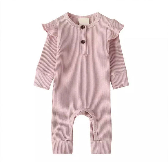 Dusky pink ribbed footless romper with frill shoulders (0-24 months)