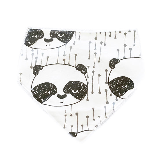Panda monochrome terry cloth cotton dribble bib