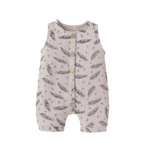 Grey feather muslin romper - up to 2 years