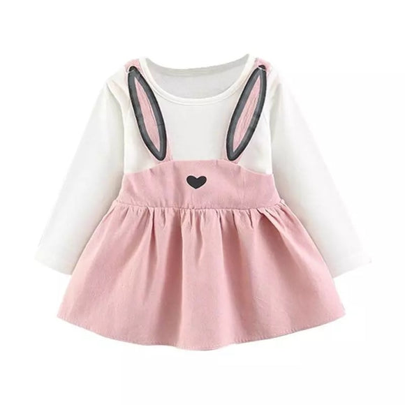 Pink Rabbit Dress Top Pinafore Design (0-2 Years)