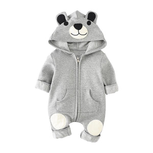Bear hooded jersey fleece lined zipped all in one