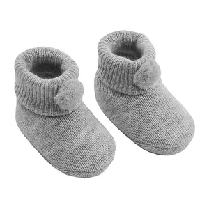 Grey pom pom baby booties (newborn to 3 months)