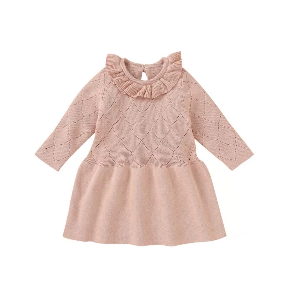 Dusky pink rib frill collar knitted jumper dress (6 months to 3 years)