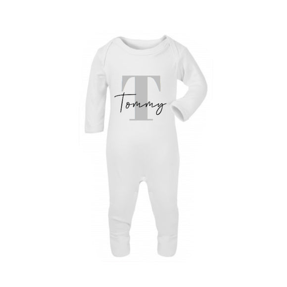 White Personalised sleepsuit romper (0 to 12 months)