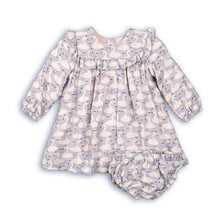 Ruffle detail swan print dress with matching bloomers