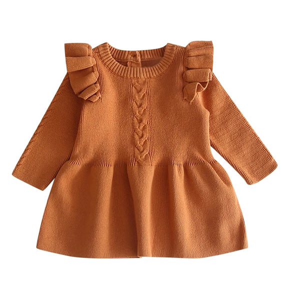 Copper knitted cable knit and frill shoulder jumper (0-12 months)
