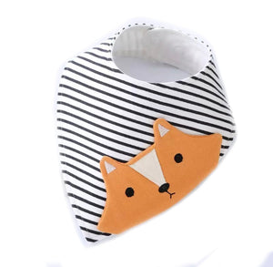 Breton stripe fox appliqué dribble bib