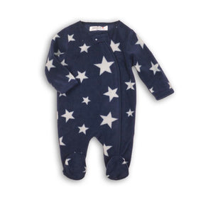 Star print fleece zippy all in one fleece romper