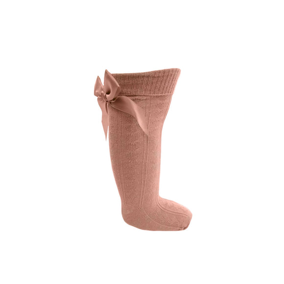 Rose gold knee length bow socks (0-24 months)
