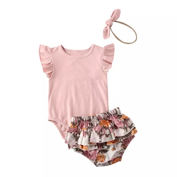 Peonies and roses - frill bodysuit, bloomers and matching headband set (0-2 years)