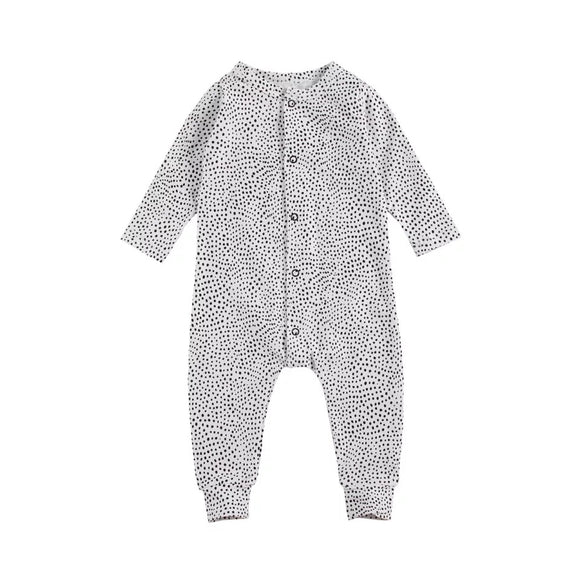 White dot footless button chest romper (up to 24 months)