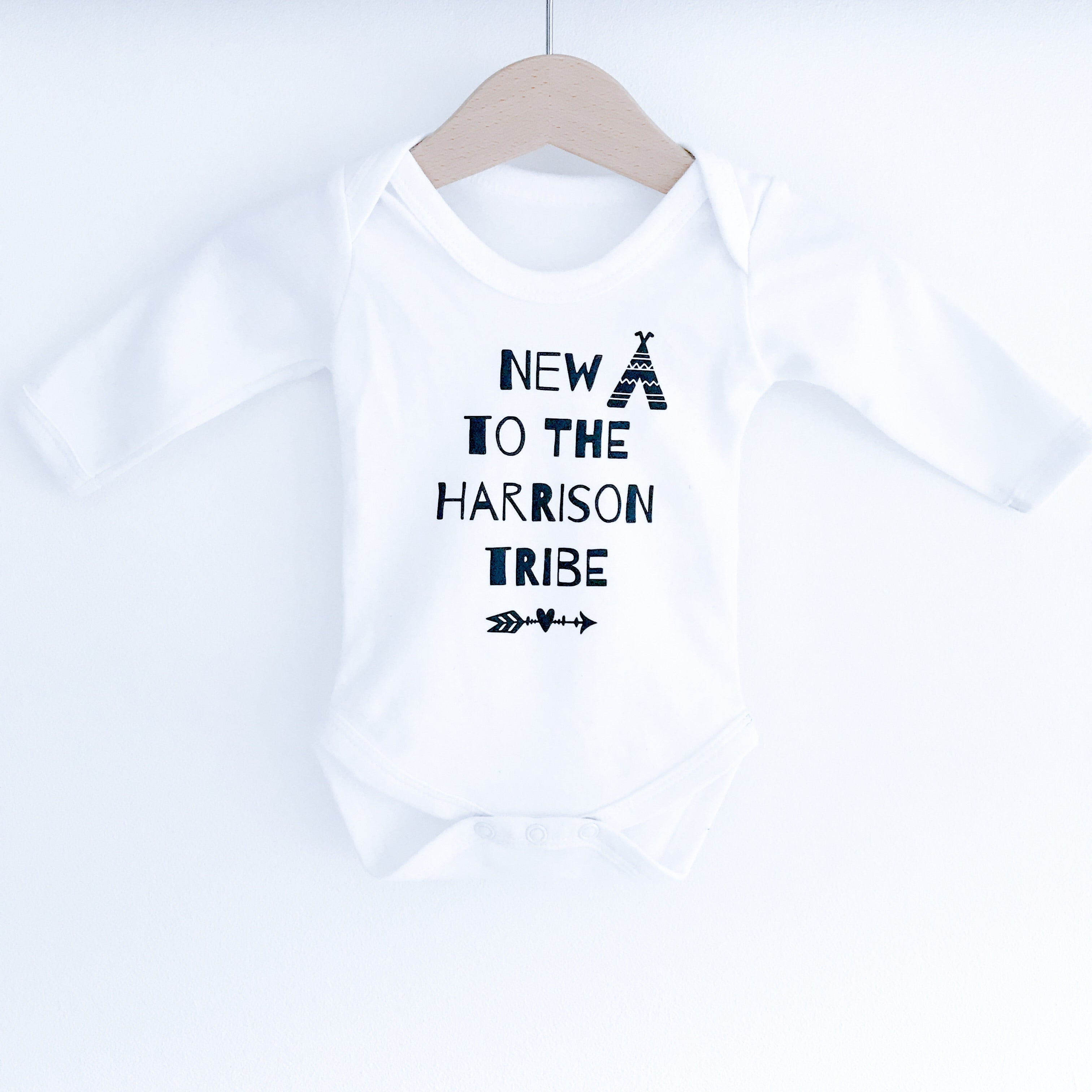 "Personalised ""New to the tribe"" white long sleeve bodysuit"