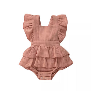 Rose pink frill muslin romper - up to 2 years