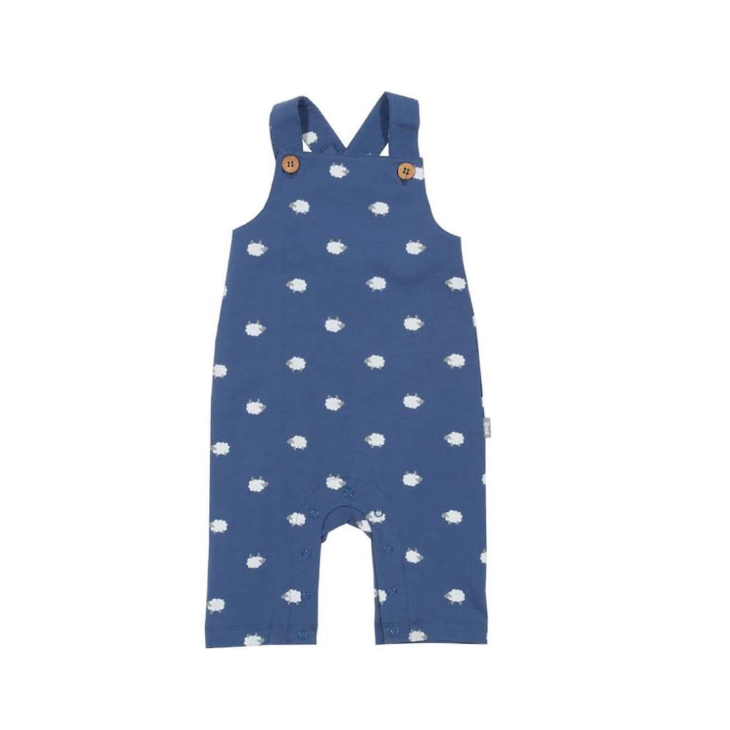Certified organic cotton blue sheepy dungarees by KITE (0-12 months)