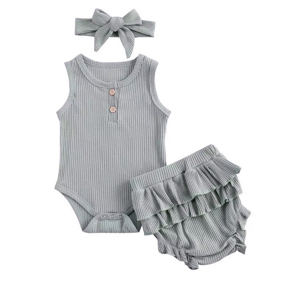 Dusky blue ribbed bodysuit, frill bloomer set (0-2 years)