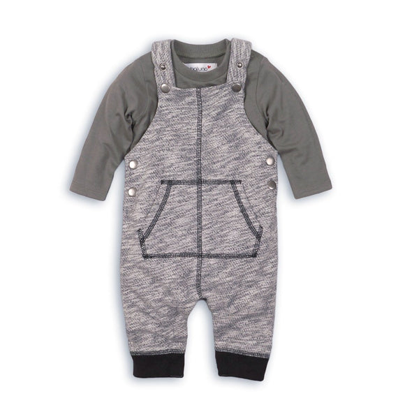 Camouflage jersey dungaree and long sleeve bodysuit two piece set (sizes 0-24 months)