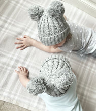 Cable knit double Pom Pom grey hat (up to 2 years)