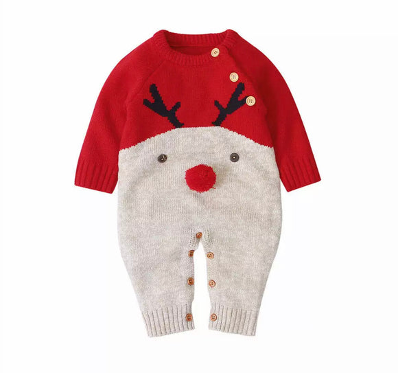 Red reindeer knitted romper with pom pom nose (0-2 years)