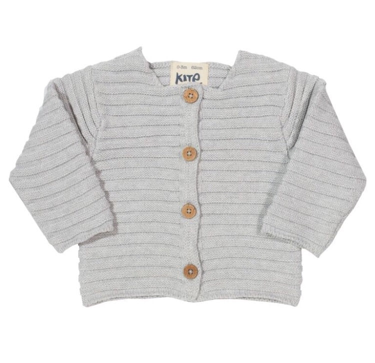 KITE Organic GOTS certified cotton ribbed knit grey cardigan