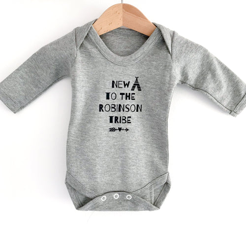 "Personalised ""New to the Tribe"" Grey Long Sleeve Bodysuit"