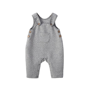 Premium thick cotton jersey quilted grey dungarees