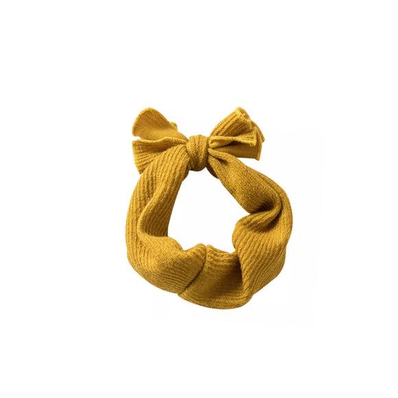 Top knitted rib jersey cotton headband - mustard