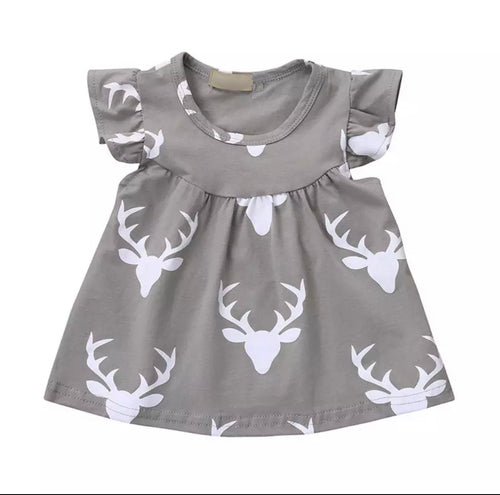 Girls Ruffle Short Sleeve Deer Stag Print Top