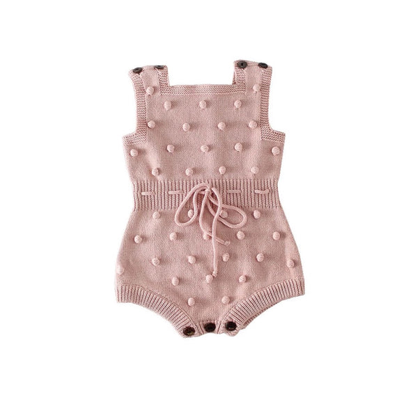 Dusky pink Pom Pom knitted romper (0-2 years)