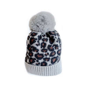 Lined grey leopard knitted Pom Pom hat (6 months to 2 years)