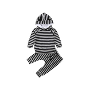 Little monsters - monochrome stripe lounge wear set (0-2 years)
