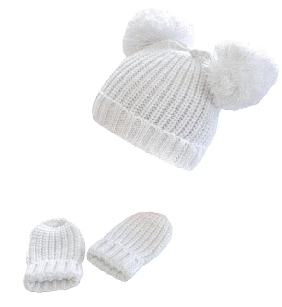 Knitted Pom Pom hat and mitten set (1 to 2 years) -white