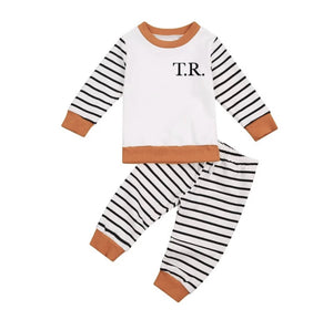 Tan and stripe jersey knit personalised playwear lounge set (up to 2 years)