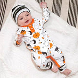 Halloween pumpkins and ghouls footless set (up to 18 months)