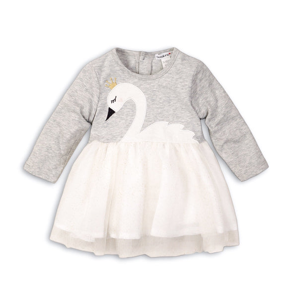 Grey marl appliqué swan dress with white organza skirt (up to 2 years)