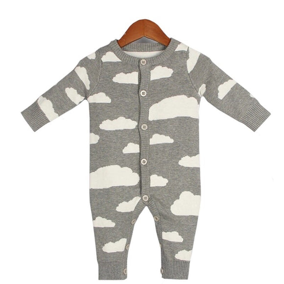 Premium Cloud Print Knitted Baby Grow Romper