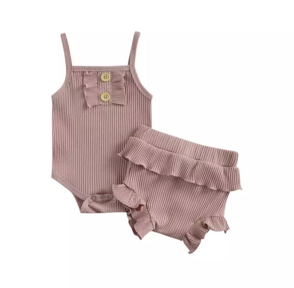 Dusky pink ribbed bodysuit with frill bloomers (up to 24 months)