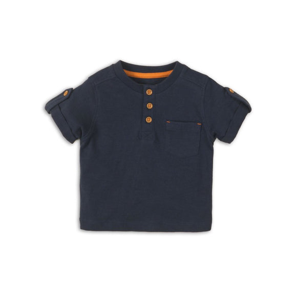 Henley navy boys T-shirt - (sizes 0-2 years)